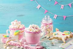 Unicorn hot chokolate and cookies. For party Stock Photos