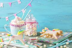 Unicorn hot chokolate and cookies. For party Royalty Free Stock Image