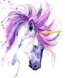 unicorn Ilustração da aquarela do unicórnio Unicórnio mágico Cópia do t-shirt do unicórnio Fotografia de Stock Royalty Free