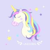 unicorn Ilustración del vector Unicornio lindo con las estrellas Fotos de archivo libres de regalías