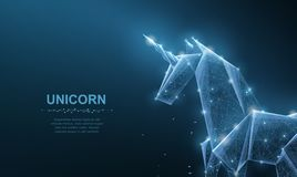 unicorn Isoleted den pappers- enhörningen för abstrakt vektororigami på blått Magi fantasin, hästen, drömmen, mirakel, tror, önsk vektor illustrationer