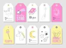 Unicorn Kids Tags Collection pour la décoration de partie de famille Photo stock