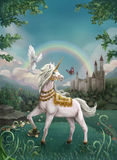 Unicorn King. An illustration depicting a Unicorn King looking upon his kingdom royalty free illustration