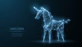 unicorn La licorne de papier d'origami abstrait de vecteur isoleted sur le bleu La magie, imagination, cheval, rêve, miracle, cro illustration libre de droits