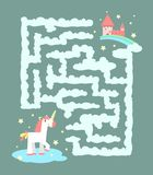 Unicorn in the labyrinth. Maze game for children Royalty Free Stock Images