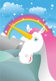 Unicorn on landscape. Rainbow, Fields and meadows. Clouds and sk royalty free illustration