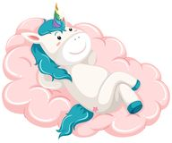 Unicorn lay on the cloud royalty free illustration