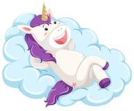 A unicorn lay on cloud stock illustration