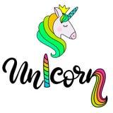 Unicorn Lettering-Vektorillustration stock abbildung