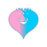 Unicorn LGBT symbol community. Sign of love and two magic animal. S. Heart and magical beast Royalty Free Stock Photography