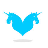 Unicorn love logo. LGBT symbol community. Sign of love and two m Royalty Free Stock Images