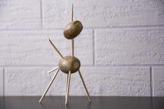Unicorn made of acron. Unicorn made of acorn and sticks Royalty Free Stock Photo