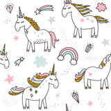 Unicorn magic birthday illustration. Unicorn magic birthday seamless pattern Stock Photography