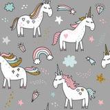 Unicorn magic birthday illustration. Unicorn magic birthday seamless pattern Stock Images