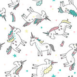 Unicorn Magic Seamless Pattern Stock Images