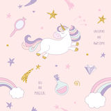 Unicorn magic seamless pattern background with rainbow, stars and diamonds on pastel pink. For print and web. Unicorn magic seamless pattern background with royalty free illustration