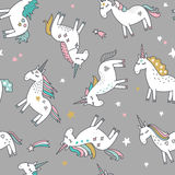 Unicorn magic seamless pattern. Illustration Stock Images