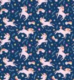 Unicorn magic seamless vector pattern. Funny kids design for fabric, wallpaper, gift paper. Stock Photo