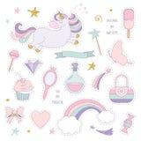 Unicorn magic set with rainbow, stars and sweets. Royalty Free Stock Image