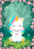 A unicorn in a magical forest world. Colorful illustration of a mystical unicorn. An unexplored part of the jungle inhabited by little unicorns. The image is Stock Illustration