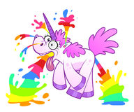 Unicorn makes rainbow Royalty Free Stock Image