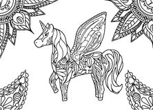 Unicorn with mandala and paisley ornament. Horizontal adult coloring page. Vector illustration. Fantastic animal. Horse with fairy wings. Whimsical floral Royalty Free Stock Photo