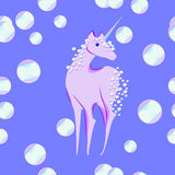 Unicorn with the mane and tail of bubbles Royalty Free Stock Images