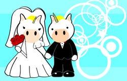 Unicorn married cartoon background Stock Image