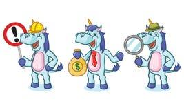 Unicorn Mascot con soldi Fotografia Stock