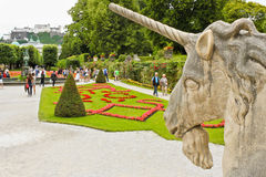 Unicorn and Mirabell Gardens in Sazburg Stock Photo