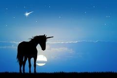 Unicorn in the moonlight Stock Image