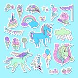 Unicorn multicolor stickers with unicorn, cloud, cake, sweets, ice-cream, baloons, rose and flag Stock Photo