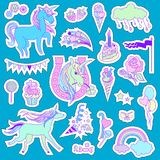 Unicorn multicolor stickers with unicorn, cloud, cake, sweets, ice-cream, baloons, rose and flag on blue background Stock Photo
