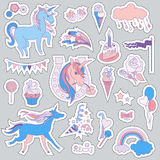 Unicorn multicolor stickers with unicorns, balloons, cloud, stars, ice-cream, fireworks, cake, sweets, and flag Stock Images