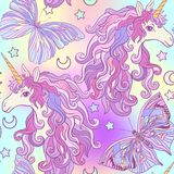 Unicorn with multicolored mane, butterfly rainbow, star and love stock illustration