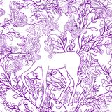 Unicorn with multicolored mane and roses flowers. Seamless patte royalty free illustration