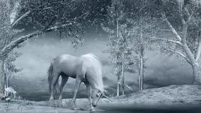 Unicorn near a frozen creek. Winter scene with unicorn, creek and trees vector illustration