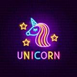 Unicorn Neon Label stock de ilustración