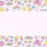 Unicorn objects flat vector design for greeting, birthday, invitation card stock photos