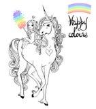 Unicorn och princess Royaltyfri Bild