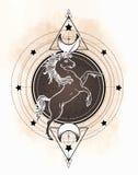 Unicorn over sacred geometry design elements. Alchemy, philosophy, spirituality symbols. Black, white vector illustration in. Vintage style isolated on white stock illustration