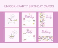 Unicorn Party Birthday greeting cards, typographic vector design for invitation card. Isolated text, handwritten lettering composition. Unicorn, rainbow vector illustration