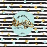 Unicorn Party för vektorillustrationvälkomnande text, blått stock illustrationer
