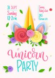 Unicorn party pink theme invitation poster design. Paper cut flowers Unicorn horn, hand drawn moderm calligraphy and stock illustration