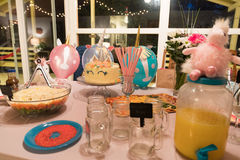 Unicorn party table decorations. Everything unicorn makes for a special event for all that attend. Unicorns make people happy royalty free stock photography