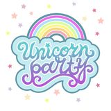 Unicorn Party text as logotype, badge, patch, icon isolated on background.