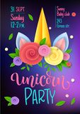 Unicorn party theme invitation poster design. Paper cut flowers Unicorn horn, hand drawn moderm calligraphy and vector illustration