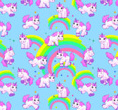 Unicorn pattern blue Stock Images