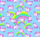 Unicorn pattern blue. Cartoon unicorns and rainbow on the cute childish pattern Stock Images