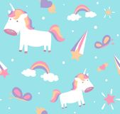 Unicorn pattern. Cute seamless design with baby pony, stars, rainbow, butterfly. Unicorn pattern. Cute girl seamless background design with baby pony, stars Royalty Free Stock Image